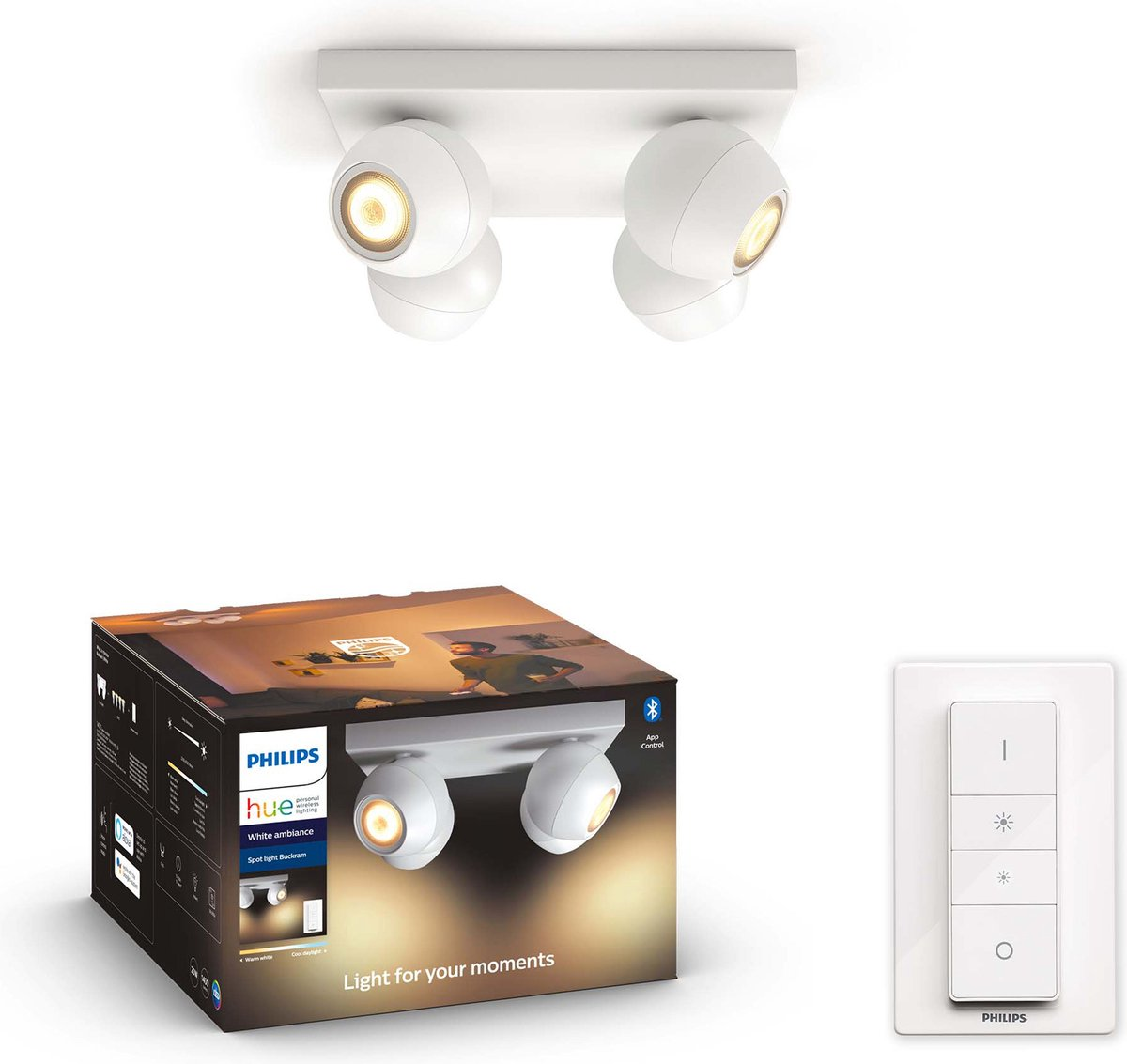 Philips Hue - BUCKRAM plate/spiral white 4x5.5W 230V - White Ambiance Bluetooth Dimmer Included