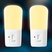 2 stuks iqonic® LED Nachtlampje Stopcontact - Dimbare Nachtlampjes met Sensor - Nachtlampje Babykamer - Nacht Lamp - Dag en Nacht Sensor - Kinderen & Baby - Warm Wit