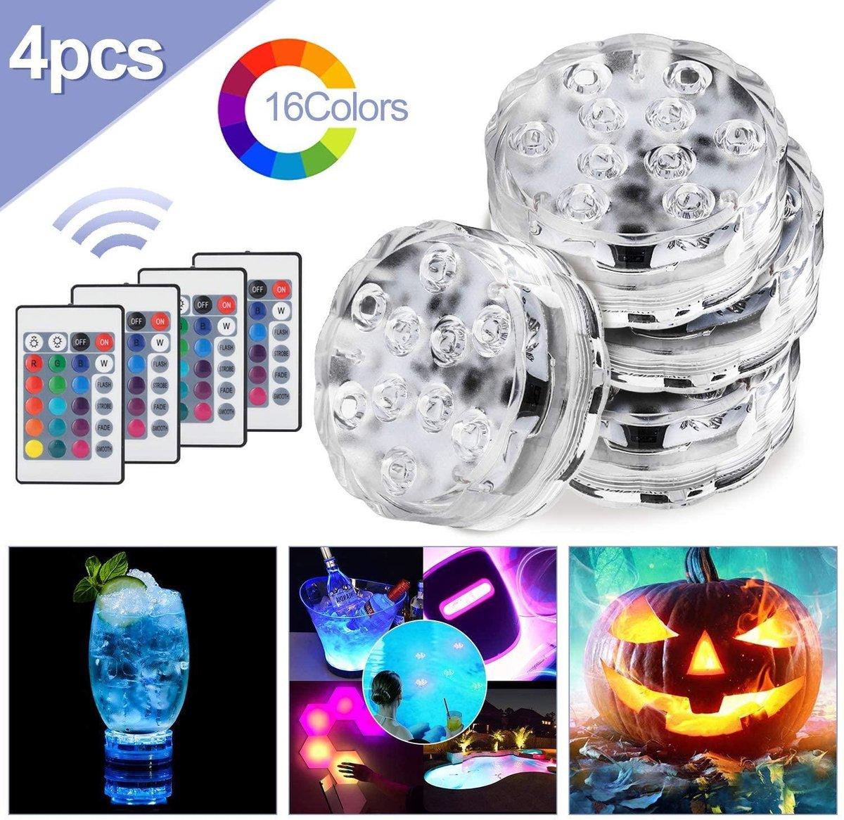 Led-verlichting voor onder water, IP68 waterdicht, met afstandsbediening, RGB-kleurwisseling, voor in zwembad, vaas, kerst, tuin, aquarium en badkuip.