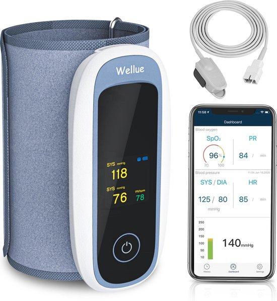 Wellue Bloeddrukmeter Met App En Saturatiemeter Met Hartslagmeter Vinger - Zuurstofmeter Vinger - Oximeter - Draadloze En Automatische Bloeddrukmeter Bovenarm