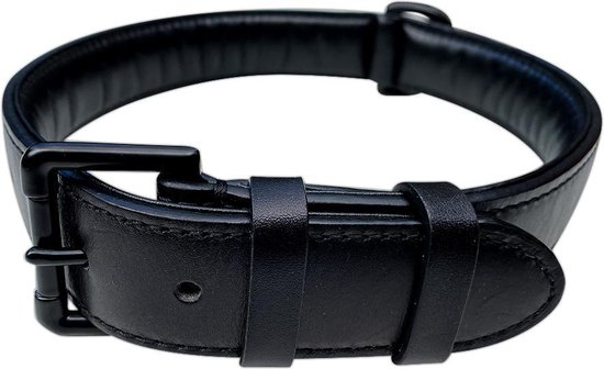 Brute Strength - Luxe leren halsband hond - Zwart met zwarte stiksels - XL - 71 x 3,5 cm - leren hals band