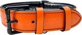 Brute Strength - Luxe leren halsband hond - Oranje - L - 61 x 3,5 cm - leren hals band