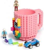 Lego Mok/ Build on Brick Mug - licht roze - 350 ml - bouw je eigen mok met bouwsteentjes - BPA vrije drinkbeker cadeau voor kinderen of volwassenen - koffie thee limonade of andere dranken - pennenbeker - creatief accessoire voor op bureau -HnD