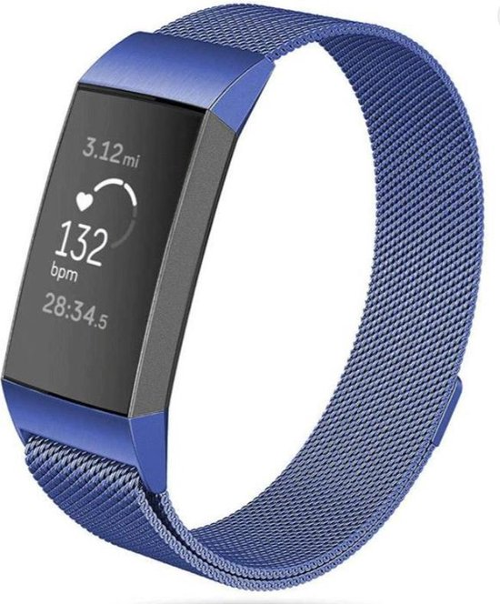 Milanees bandje - Fitbit Charge 2 - Blauw- Small