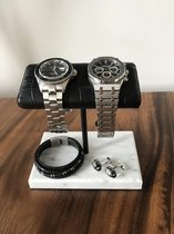 DOUBLE Watch Stand / Display / Horlogestandaard - Wit Marmer, Zwarte Standaard, CROCODILE Kalfsleer