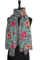Dames sjaal - katoen - linnen - geborduurd - borduurwerk - bloemen - grijs - turquoise- oranje - rood - 90 x 165 cm