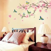 Muursticker vogels op roze bloesem tak / decoratie muur / wanddecoratie tak