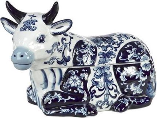 Pols Potten Cow - Koektrommel - Wit, Blauw