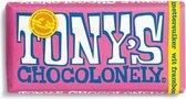 Tony's Chocolonely Wit Framboos Knettersuiker Chocolade Reep - 180 gram