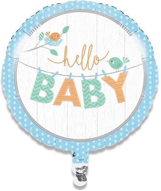 Folieballon hello baby boy (45cm)