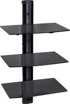 TecTake wandsteun - muurbeugel voor o.a. DVD speler - 3 glasplaten - 401103