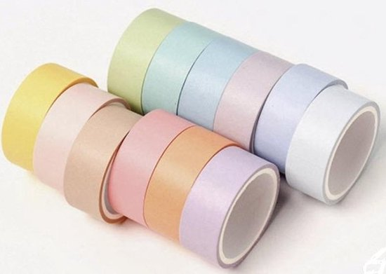 Afbeelding van Washi Tape Pastel -  Set met 12 rollen Masking Tape speelgoed