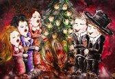 Set van 10 luxe kerstkaarten MERRY X-MAS handgeschilderd