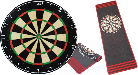 A-merk dartbord - dartbord - inclusief brede antraciet - dartmat