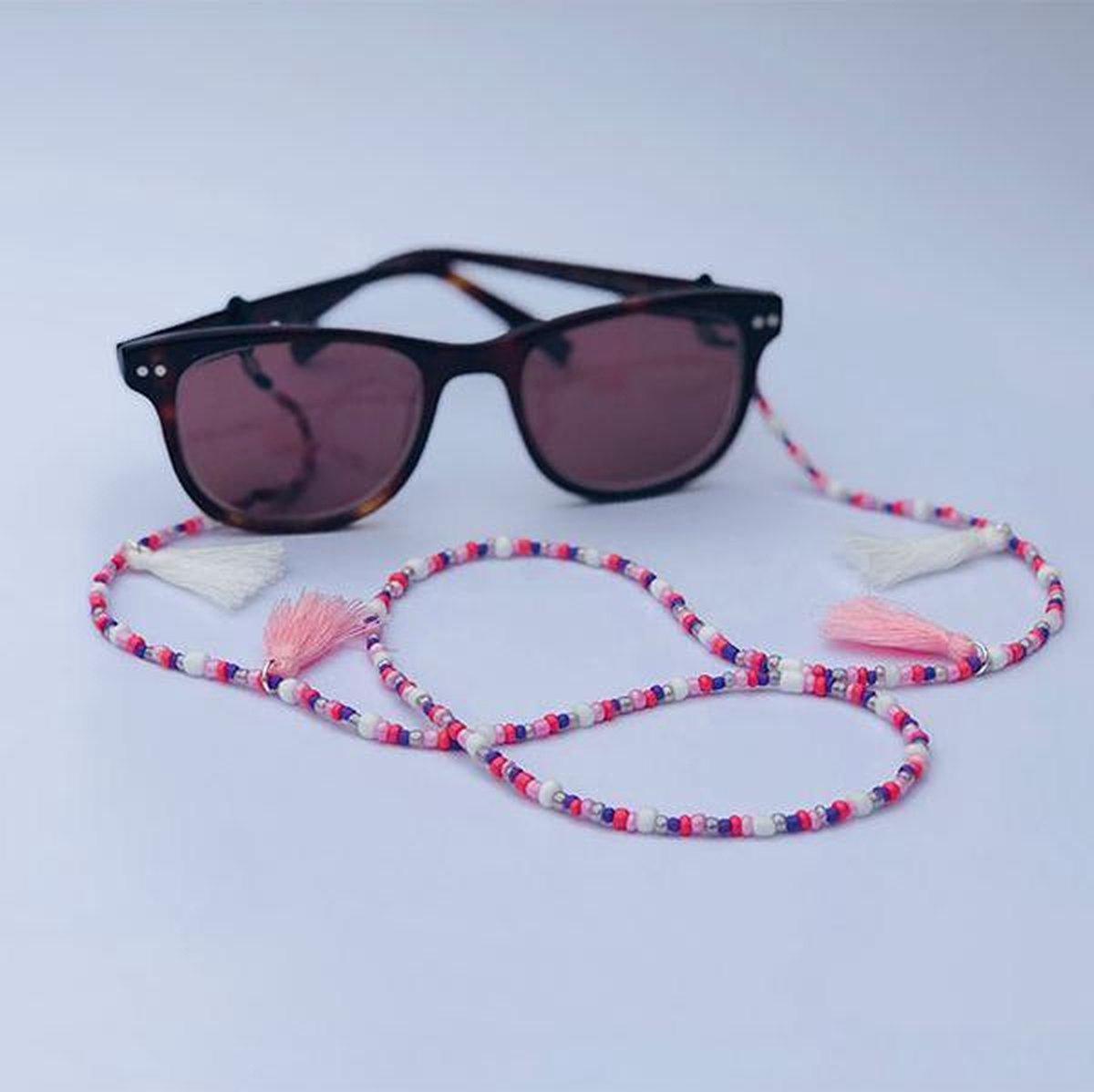 Zonnebril koord - Roze met kwastjes - Musthaves by Fleur