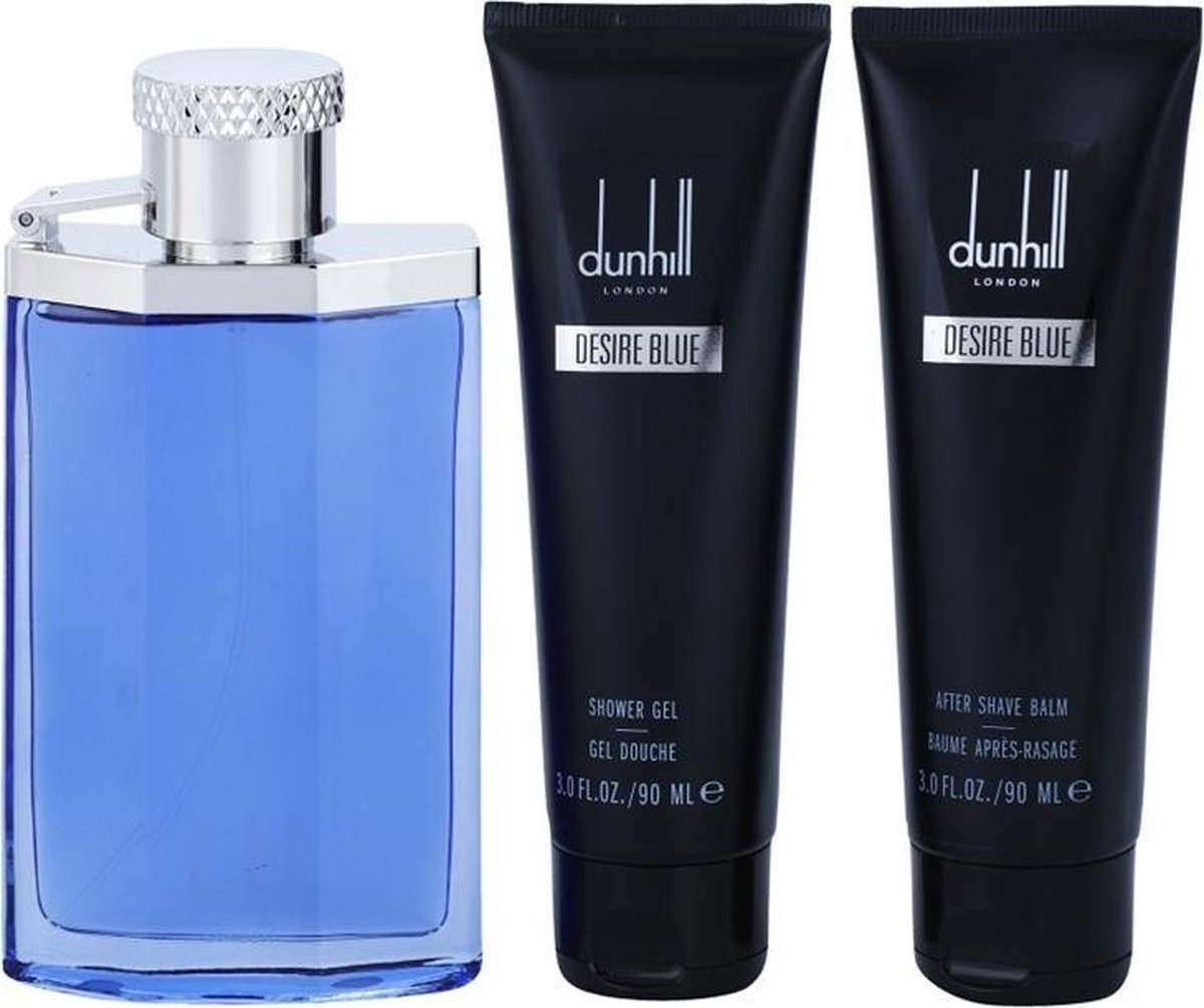 Dunhill - Desire Blue -Eau de Toilette 100 ml -Shower Gift Set 100 ml Eau DE Toilette Spray + 3 oz Shower Gel + 3 oz After Shave Balm + Bag Men - Dunhill