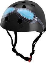 Kiddimoto - Zwarte Bril - Medium - Geschikt voor 4-10jarige of hoofdomtrek van 53 tot 58 cm - Skatehelm - Fietshelm - Kinderhelm - Stoere helm - Jongens helm