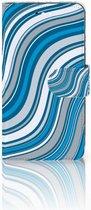 Motorola Moto C Plus Wallet Book Case Hoesje Design Waves Blue