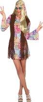 ATOSA - Veelkleurige hippie jaren 60 jurk voor vrouwen - M / L - Volwassenen kostuums