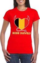 Rood Belgie rode duivels hart shirt dames XL