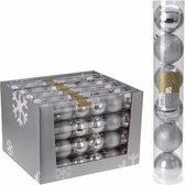 12x Kerstboom decoratie - kerstballen mix zilver 7 cm