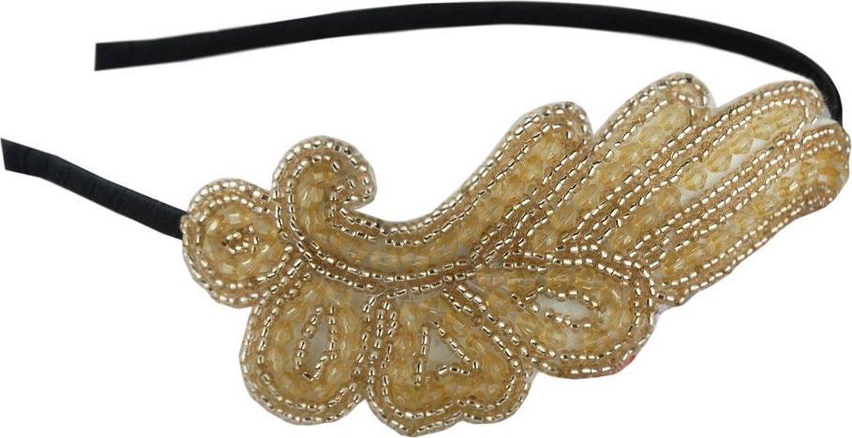 Jessidress Haarband Luxe Dames Haar Diadeem vol pareltjes - Beige - Jessidress