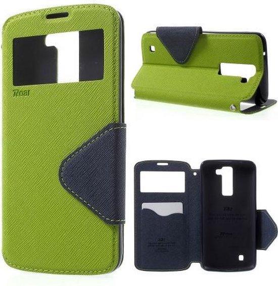 LG K8 Hoesje Groen met Venster, Merk Roar Korea (K350N)