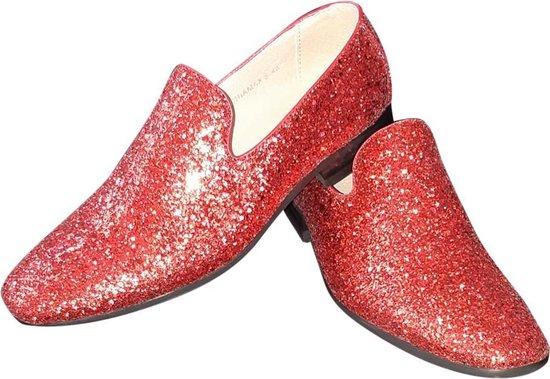Toppers, heren glitter schoen, rood
