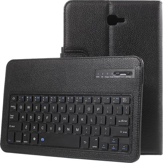 Shop4 Samsung Galaxy Tab A 10.1 (2016) Toetsenbord Hoes Bluetooth Keyboard Cover Zwart