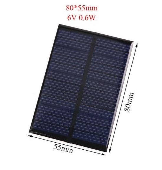 1 Stuk - 6V 0.6W 80x55mm Mini zonnepaneel