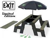 EXIT Aksent Zandtafel Watertafel en Picknicktafel (2 bankjes) + Parasol Black Limited Edition + Garden Tools