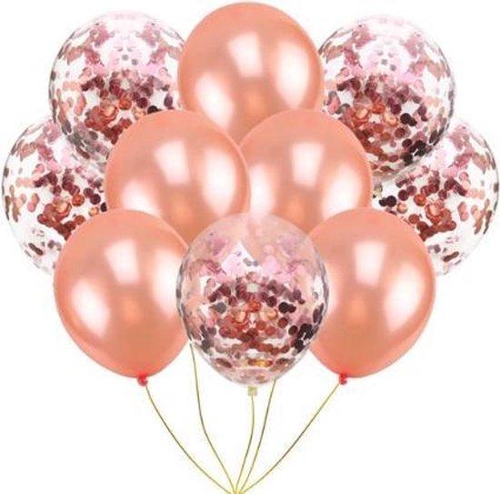 10 confetti ballonnen rosé goud en confetti rosé goud |Ideaal voor feesten, bruiloft, verjaardag en andere gelegenheden