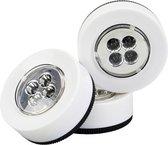 LED push light - Druklampenset -  Lamp op batterij -  Wit 3x