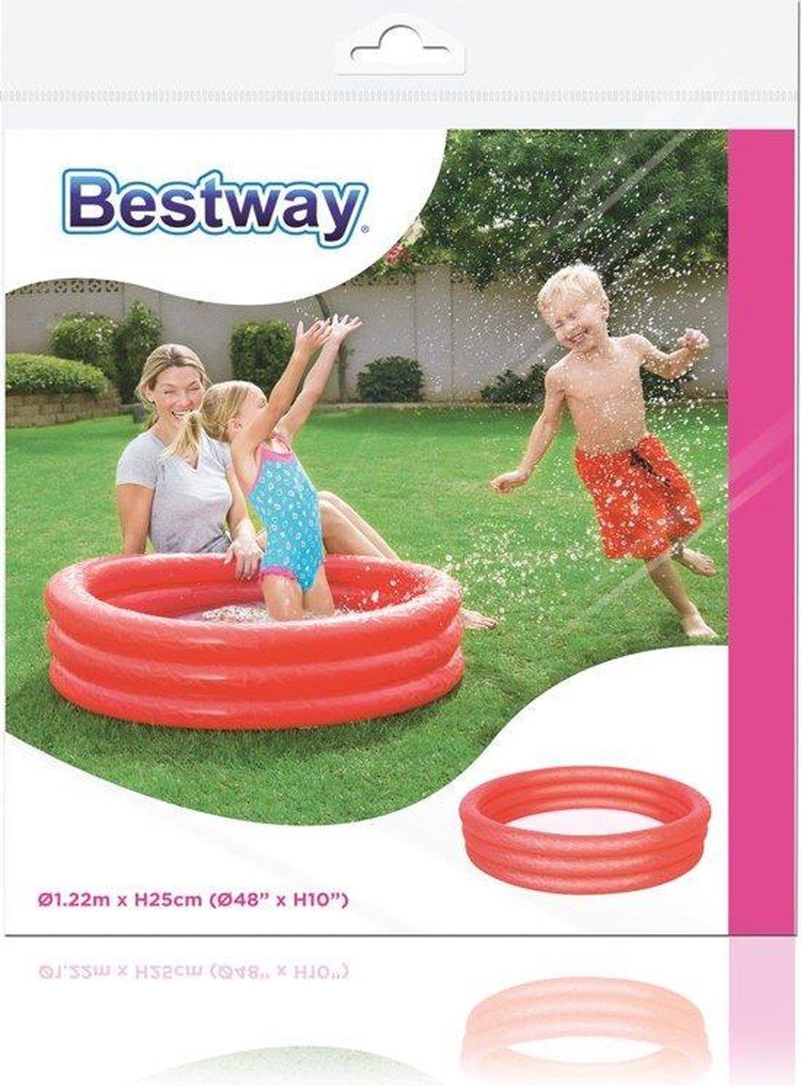 Opblaasbaar Zwembad - Kinderzwembad - Kinderbad - Bad - Zwembadje - 3 Rings - Rood - 122 x 25