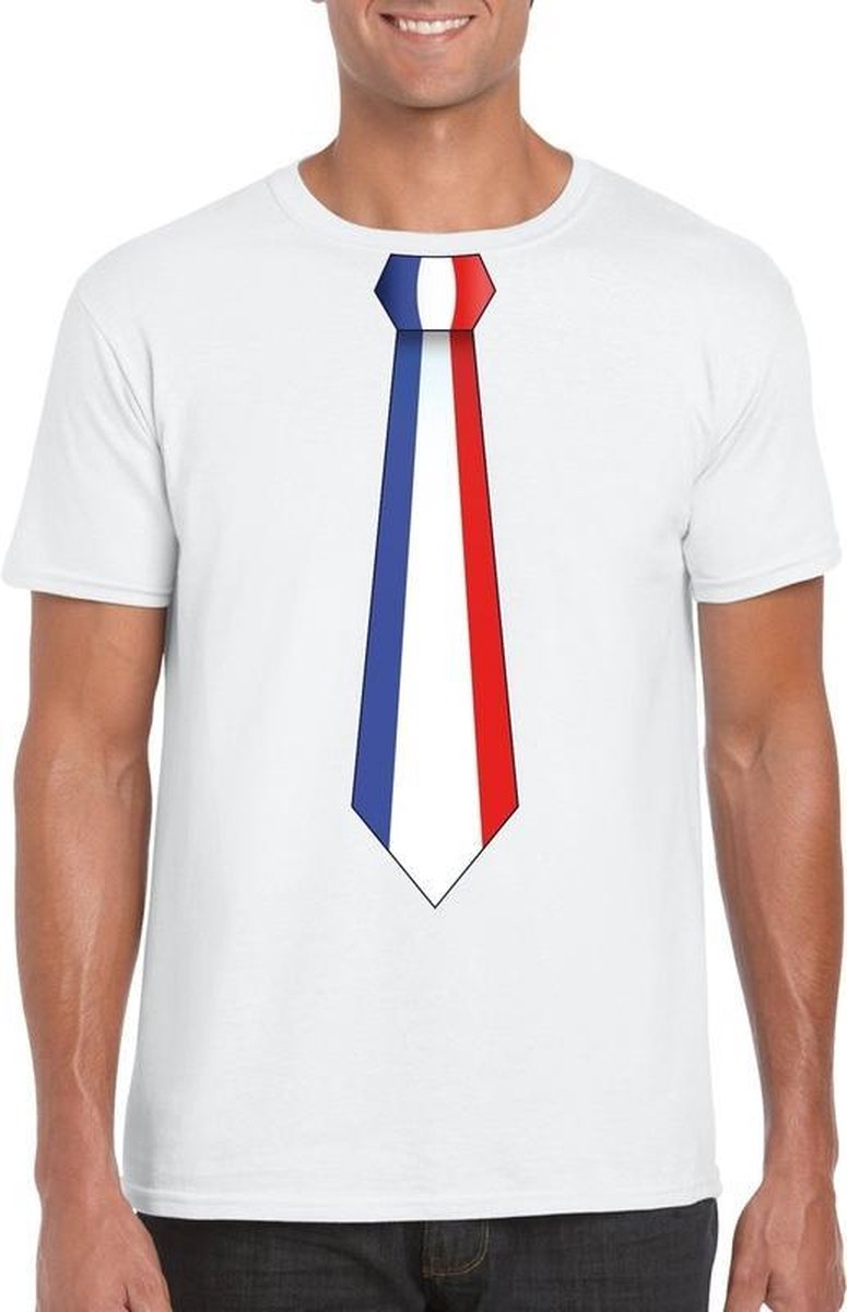 Wit t-shirt met Frankrijk vlag stropdas heren 2XL