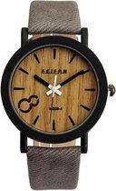 Feifan - Houtlook Horloge - Kunststof - Grey/Grijs - 38 mm