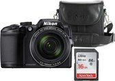 Nikon Coolpix B500 - Zwart - Inclusief cameratas + 16GB SD-kaart