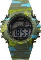 Lasika Horloge - Kinderen - Siliconen - Camouflage/ leger kleur GROEN - Ø 38 mm