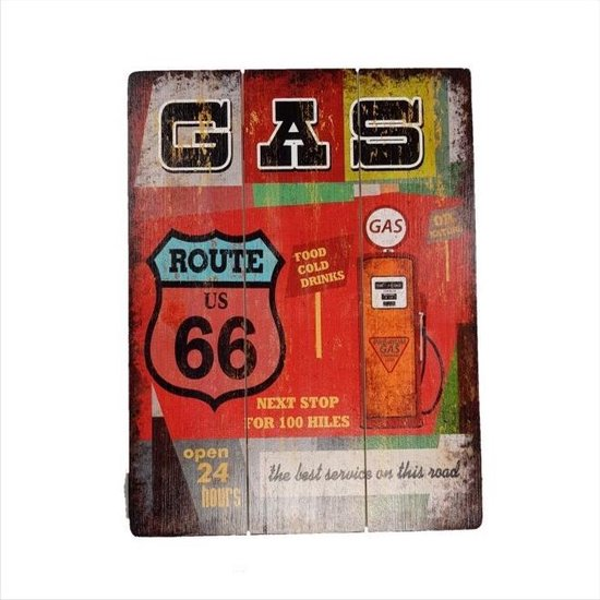 Bol Com Retro Houten Decoratie Plaat 30 40cm Gas Route 66