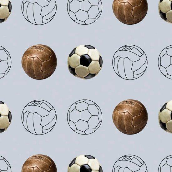 Tinkle&Cherry - Behang - Voetbal - Blauwgrijs