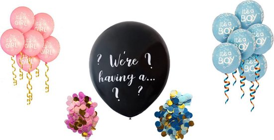 Gender Reveal Ballonnen Set - Confetti Ballon - It's a girl ballonnen - It's a boy ballonnen - Babyshower - Confettiballon meisje / jongen - 90cm