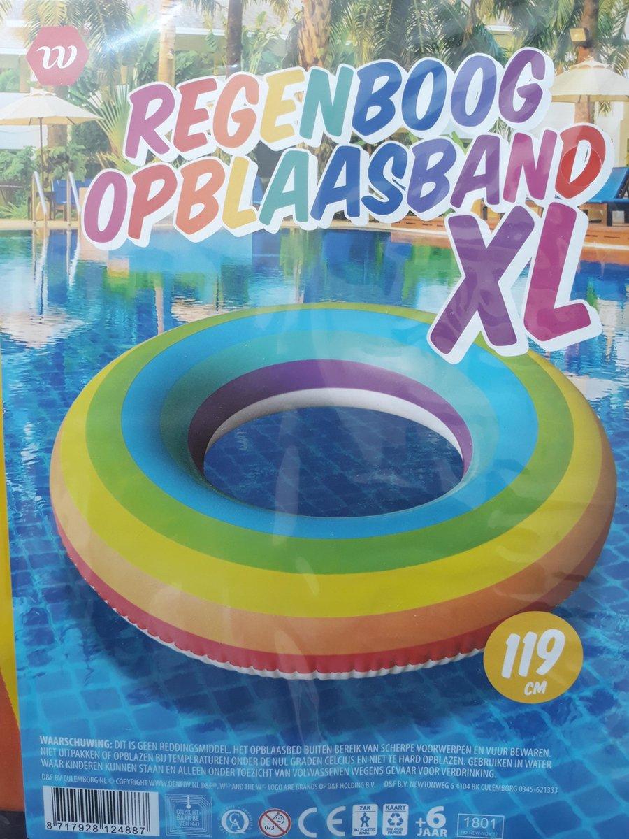 Regenboog Opblaasband XL - Luchtbed van 119 cm - Zwemband - Zwemmen - Zomer - Vakantie - Water