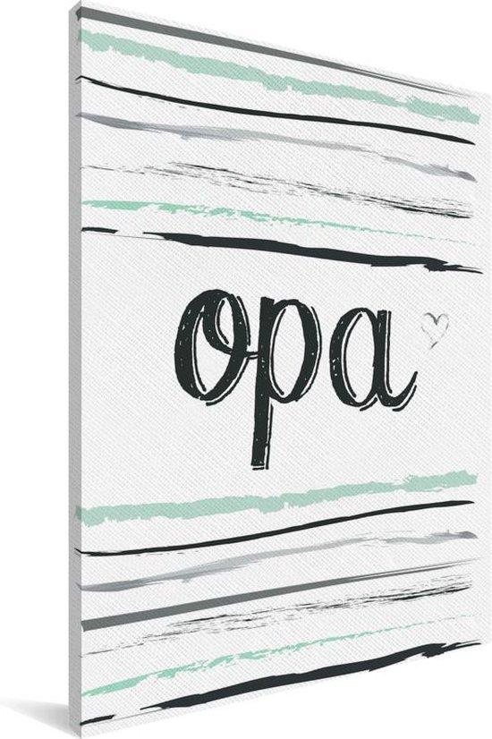 Cadeau voor opa met tekst en strepen - Opa Canvas 20x30 cm