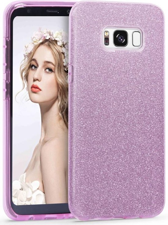 Samsung Galaxy S8 Plus Hoesje - Glitter Backcover - Paars