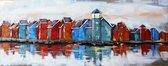 Metalen schilderij Huisjes