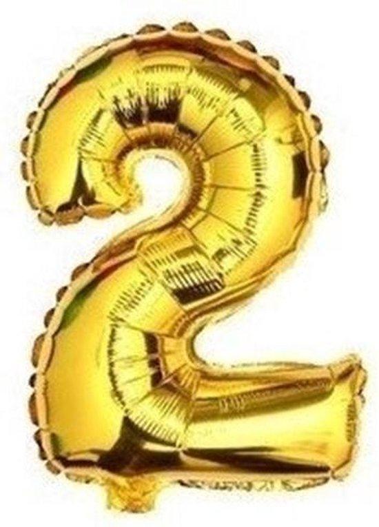 ballon - 41 cm - goud - cijferballon - cijfer 2