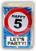 Happy Birthday kaart met button 5 jaar