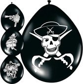 8x stuks Piraten ballonnen versiering