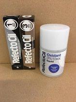 RefectoCil 2 stuks nr.1 zwart + nr.3 Natuurbruin + 100ml Oxidant