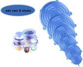 Silicone Afsluitdeksel - Verhouddeksel - Herbruikbare Vacuum Deksel - Set van 6 Stuks